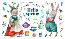 Set Of A Watercolor Collection Of Easter Illustrations And Elements On A White Background.Hand Drawing Easter Rabbits,bee And Honey Jar,teapots And Cups,eggs, Leaves And Branches, Water Pot, Flowers.