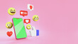 3D Social Media Service, Online social Network applications concept, emoji, chat , love and like with smartphone, on a pink background. 3D illustration.