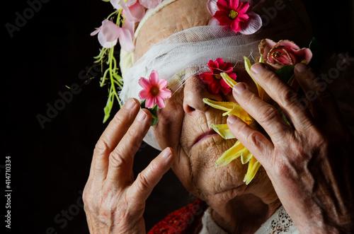 Blindfolded grandmother Fototapeta