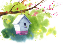 Wooden White Birdhouse On A Blooming Tree Branch, Spring Watercolor Illustration