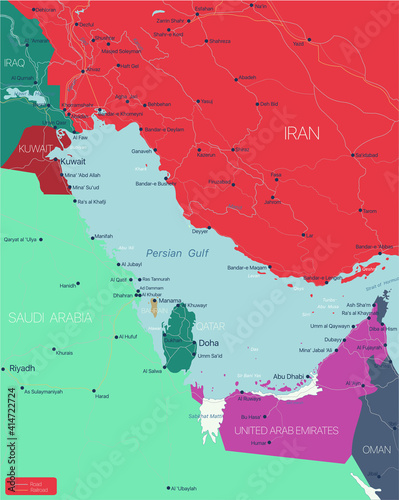 Fotografia Persian Gulf region country detailed editable map with countries capitals and cities