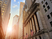 Historic Buildings Of Wall Street In The Financial District Of Lower Manhattan, New York City