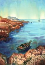Marina Dipinta Ad Acquerello. Barca A Remi Ormeggiata Vicino Alla Scogliera. Barca A Vela All'orizzonte