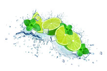Lime Water Splash, Ice Cubes Isolated On White