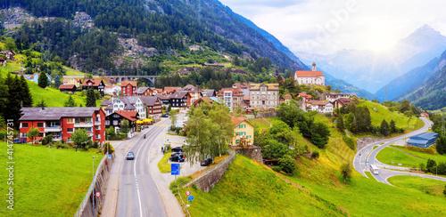 Wassen village in a swiss Alps valley, Switzerland © Boris Stroujko