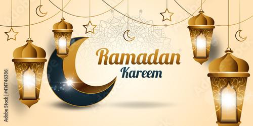 Fotografia Ramadan Kareem background with islamic lights