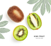 Fresh Kiwi Fruit Composition And Creative Layout.