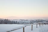 Krajobraz Zakopane, Gubałówka zimowy poranek w górach, panorama Tatr o poranku