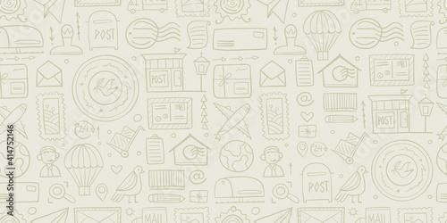 Fotografie, Obraz Post Office. Seamless Pattern for your design