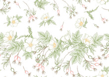 Rose Hips With Flowers And Berries Seamless Pattern. Graphic Drawing, Engraving Style. Vector Illustration On White Background