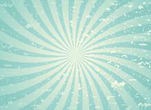 Sunlight Wide Spiral Grunge Background. Green And Beige Retro Background.