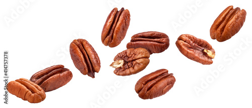 Obraz Pecan nuts isolated on white background with clipping path - fototapety do salonu