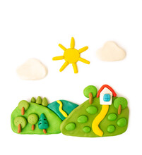 Plasticine Landscape, Meadows, Trees, House Sun Clouds On A White Background