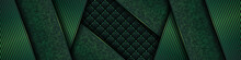 Luxury Dark Green Background With Backdrop Overlap Layer . Deep Emerald Pattern With Vintage Leather Texture Premium Royal Party