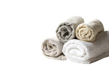 Towel In Roll Of White And Grayscale Isolated On White Background
