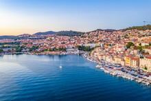 Boats Mooring At Waterfront Of Sibenik, Croatia
