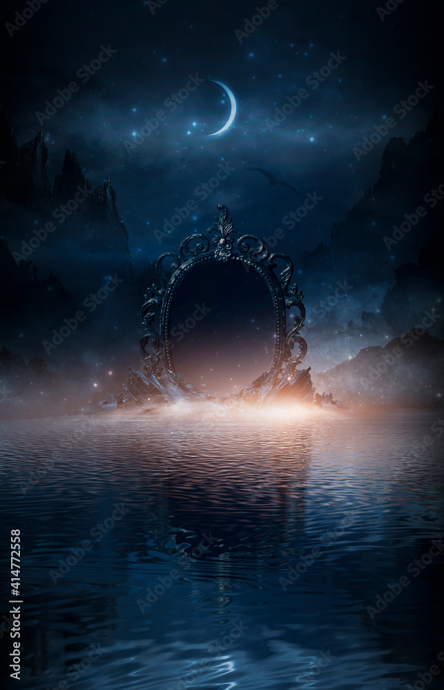 Fototapeta Abstract night fantasy landscape with mountains, river bank. An island on the water, a magic mirror, the light of the moon, rocks. Night sky reflected in the water.