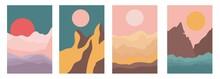 Landscapes Set In Boho Minimal Style Vector Illustration