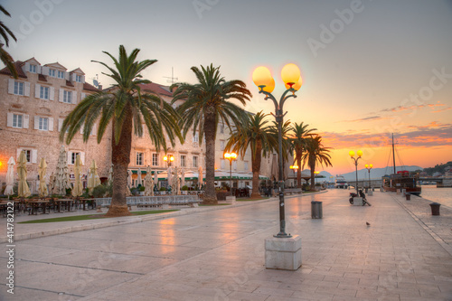 Obraz na plátně Sunrise view of seaside promenade in Trogir, Croatia