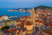 Sunrise Aerial View Of Old Town Of Split Dominated By Belltower Of Saint Domnius Cathedral, Croatia