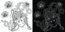 Art Therapy Coloring Page. Coloring Book For Children And Adults. Colouring Pictures With Bull. The Art Of Linear Engraving. Romantic Concept.