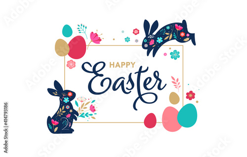 Fotografiet Happy Easter, decorated easter card, banner