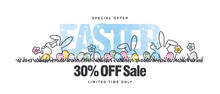 Special Offer Easter Sale 30 Percent Off Handwritten Line Design Colorful Easter Bunny Egg Hunt In Grass Spring White Background