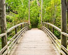Beautiful Wooden Suspension Bridge Crosses Over A Freshwater Wetland.  Long Island, New York.