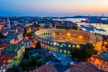 Sunset Aerial View Of Roman Amphitheatre In Pula, Croatia