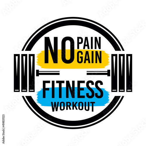 Canvas Print No pain no gain, fitness workout, typography graphic design, for t-shirt prints,