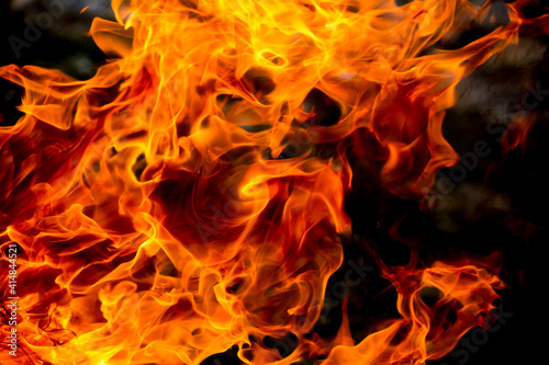 Fotografie, Tablou Flames of fire on a background of nature