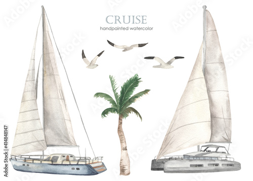 Canvas Print Watercolor set of sea cruise with yacht and catamaran, palm tree, seagulls