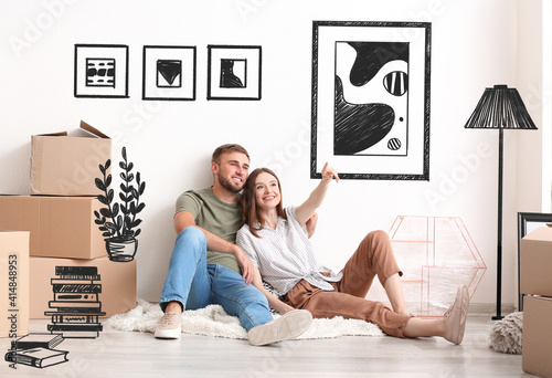 Fototapeta Young couple planning design of their new house