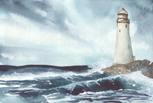 Lighthouse On The Cliff In Watercolor