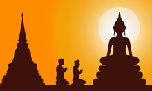 Silhouette Of Buddha In Thai Temple Worship Holy Day