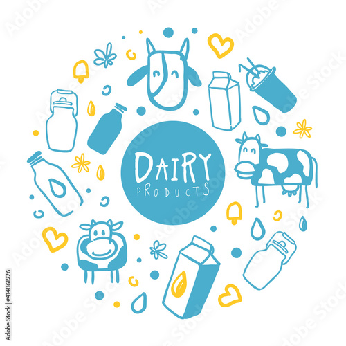 Dairy Products Banner, Organic Natural Milk Brochure, Cover, Flyer, Poster, Card, Packaging Template n Hand Drawn Vector Illustration