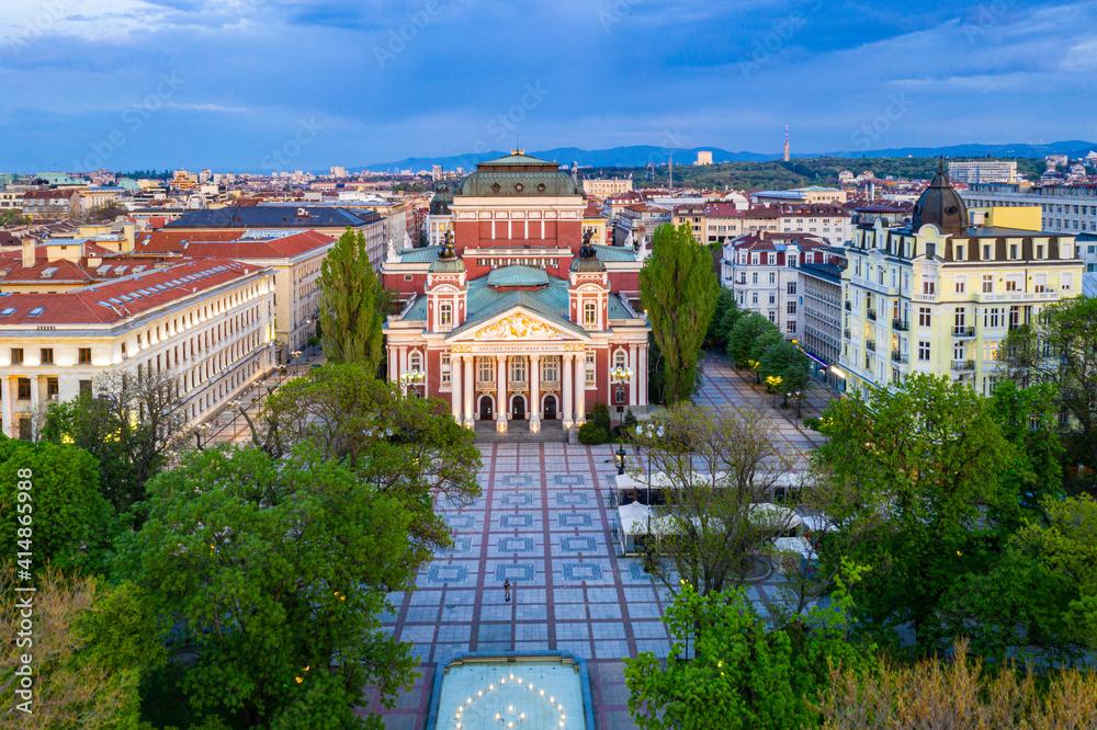 Fototapeta Sunset aerial view of Ivan Vazov Theatre in Sofia, Bulgaria