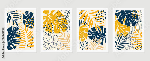 Fototapeta Botanical wall art vector set. Earth tone background foliage line art drawing with abstract shape and watercolor. Design for wall framed prints, canvas prints, poster, home decor, cover, wallpaper obraz