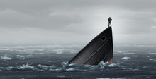 Sinking Ship Metaphor And Failing Business Despair Concept As A Stranded Businessman Lost At Sea As A Failed Corporate Idea For Financial Crisis Or Being Lost And Needing Career Or Financial Help To E