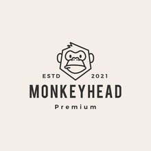 Monkey Head Hipster Vintage Logo Vector Icon Illustration