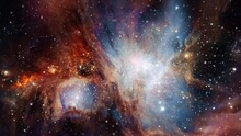 The Orion Nebula Exploration On Deep Space. 4K Flight Into The Orion Nebula Also Known As Messier 42, M42, NGC 1976. Elements Furnished By NASA Image. 3D Animation Traveling Through Star Fields.