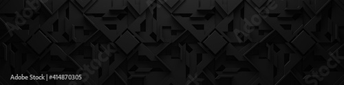 Wide Extra-Dark Black Geometric Background (Website Header) 3D Illustration