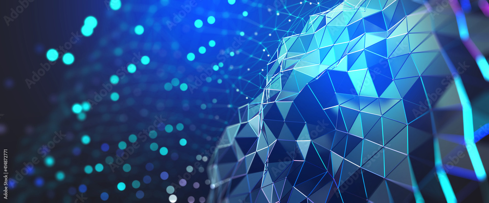 Fototapeta Neural network and cloud technologies. Global database and artificial intelligence. Big data concept. Bright, colorful 3D illustration of polygonal network, cybersecurity and internet busines