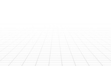 Perspective Grid.  Abstract Wireframe Landscape. 3d Vector Illustration.