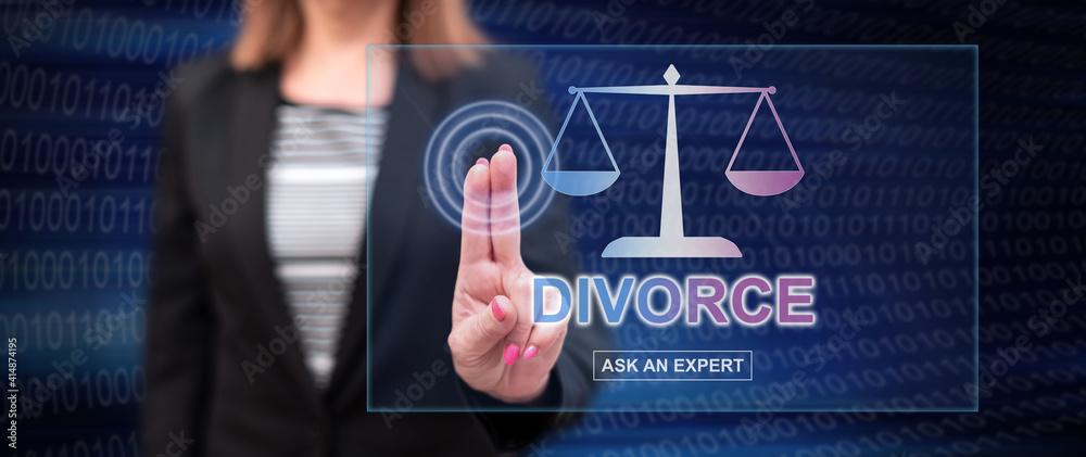Fototapeta Woman touching an online divorce advice website