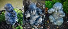 Bannière De Trois Statues De Moines Bouddhistes Sur Le Concept Des Trois Singes, Pas Vu, Pas Entendu, Pas Dit