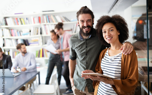 Successful company with happy workers. Business, meeting, office concept
