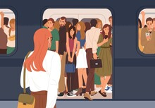 Subway Car Crowded With People In Rush Hour. Woman Failed To Enter Last Carriage Of Departing Train And Standing On Platform. Overcrowded Underground Or Metro. Colored Flat Vector Illustration