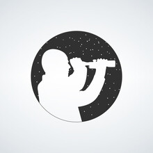 Man Boy Looking At Scope Silhouette, Stars Observers Icon. Stock Vector Illustration Isolated On White Background.