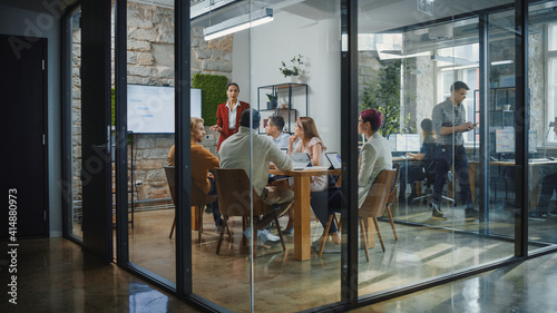 Canvas Print Office Conference Room Meeting: Female Chief Executive Talking to a Diverse Team of Professional Businesspeople